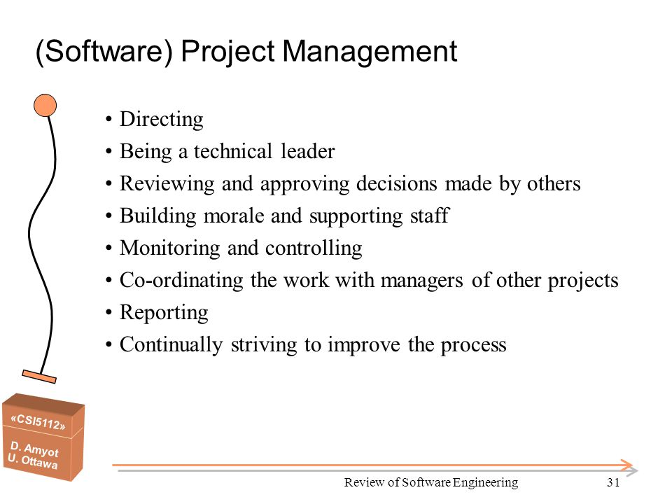 «CSI5112» D. Amyot U. Ottawa Review of Software Engineering31 (Software) Project Management Directing Being a technical leader Reviewing and approving