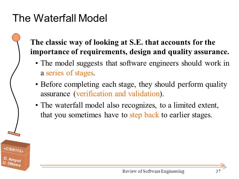 «CSI5112» D. Amyot U. Ottawa Review of Software Engineering37 The Waterfall Model The classic way of looking at S.E. that accounts for the importance