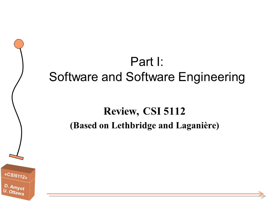 «CSI5112» D. Amyot U. Ottawa Part I: Software and Software Engineering Review, CSI 5112 (Based on Lethbridge and Laganière)
