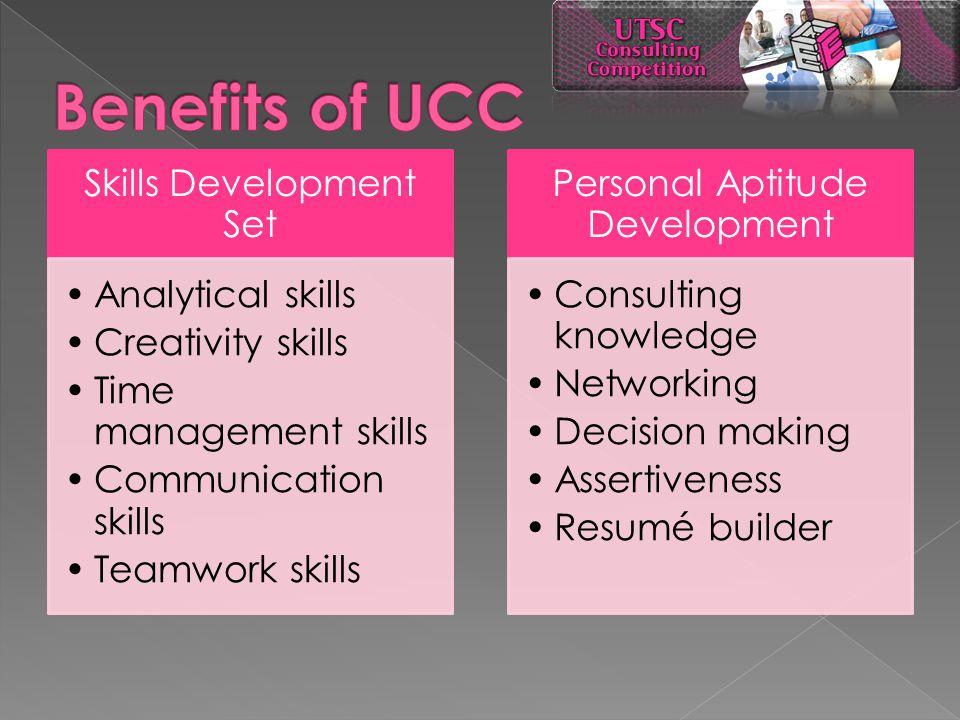 Skills Development Set Analytical skills Creativity skills Time management skills Communication skills Teamwork skills Personal Aptitude Development C