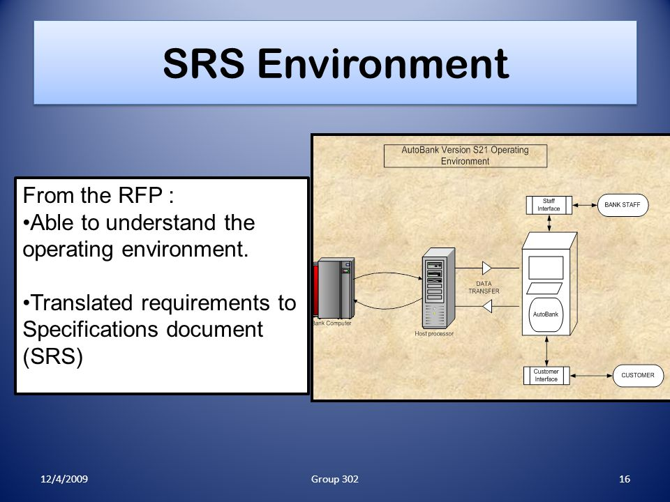 SRS Environment From the RFP : Able to understand the operating environment.