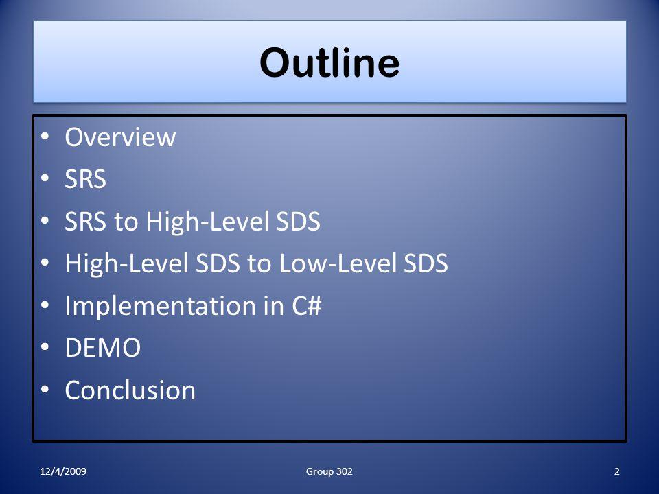Organizational Tools: GANTT Chart 12/4/200933Group 302