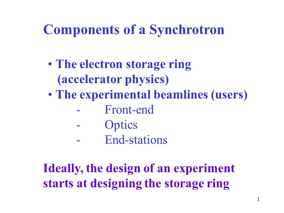 1 Components of a Synchrotron The electron storage ring (accelerator physics) The experimental beamlines (users) -Front-end -Optics -End-stations Ideally, the design of an experiment starts at designing the storage ring