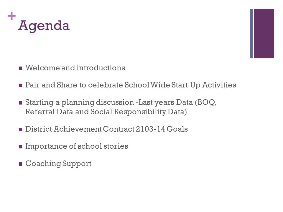 + Agenda Welcome and introductions Pair and Share to celebrate School Wide Start Up Activities Starting a planning discussion -Last years Data (BOQ, Referral Data and Social Responsibility Data) District Achievement Contract 2103-14 Goals Importance of school stories Coaching Support