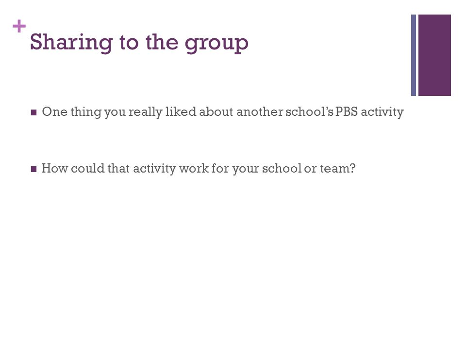 + Sharing to the group One thing you really liked about another school's PBS activity How could that activity work for your school or team?