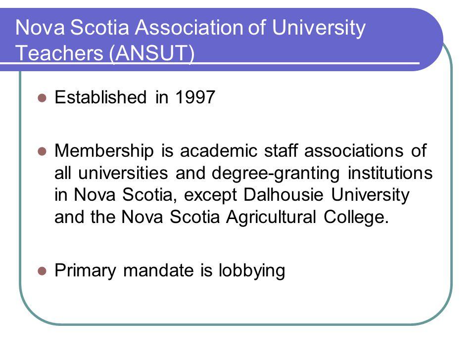 Nova Scotia Association of University Teachers (ANSUT) Established in 1997 Membership is academic staff associations of all universities and degree-gr