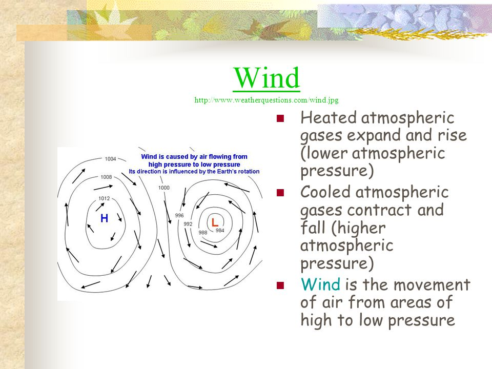 Wind http://www.weatherquestions.com/wind.jpg Heated atmospheric gases expand and rise (lower atmospheric pressure) Cooled atmospheric gases contract