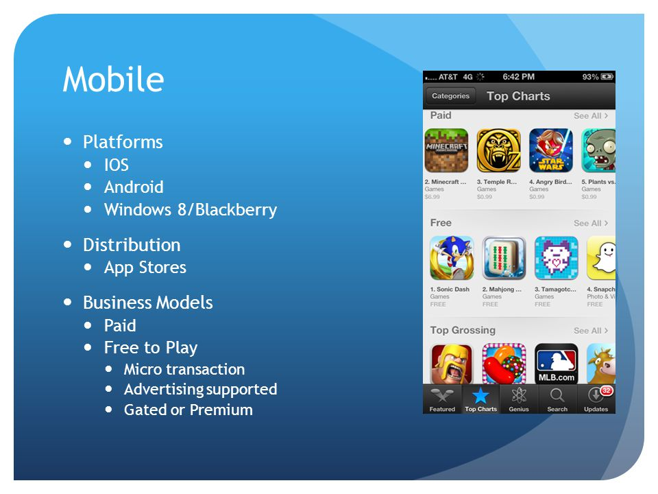 Mobile Platforms IOS Android Windows 8/Blackberry Distribution App Stores Business Models Paid Free to Play Micro transaction Advertising supported Gated or Premium