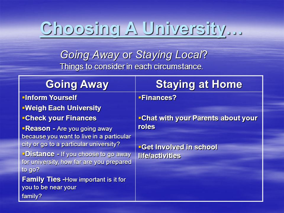 Choosing A University… Going Away or Staying Local? Things to consider in each circumstance. Going Away Staying at Home  Inform Yourself  Weigh Each