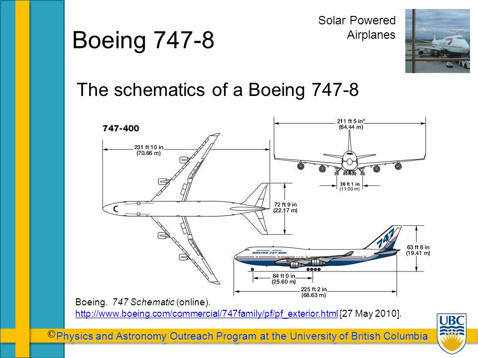 Physics and Astronomy Outreach Program at the University of British Columbia Physics and Astronomy Outreach Program at the University of British Columbia Boeing 747-8 The schematics of a Boeing 747-8 Solar Powered Airplanes Boeing.