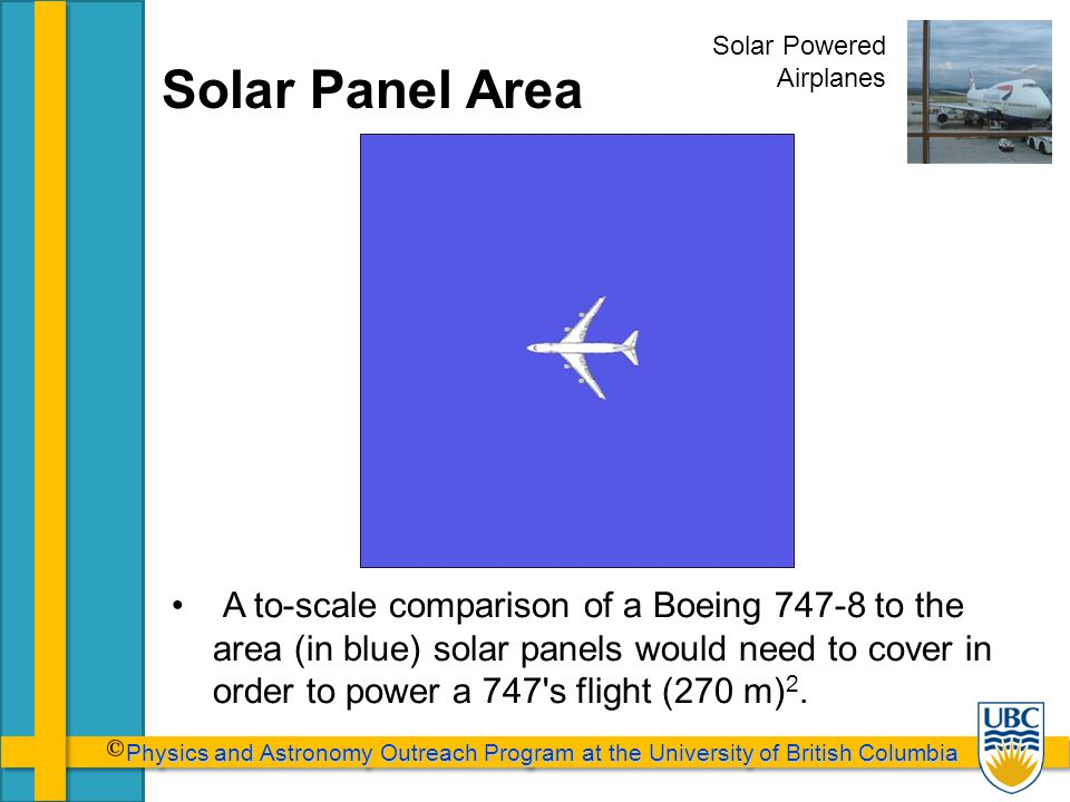 Physics and Astronomy Outreach Program at the University of British Columbia Physics and Astronomy Outreach Program at the University of British Columbia Solar Panel Area A to-scale comparison of a Boeing 747-8 to the area (in blue) solar panels would need to cover in order to power a 747 s flight (270 m) 2.