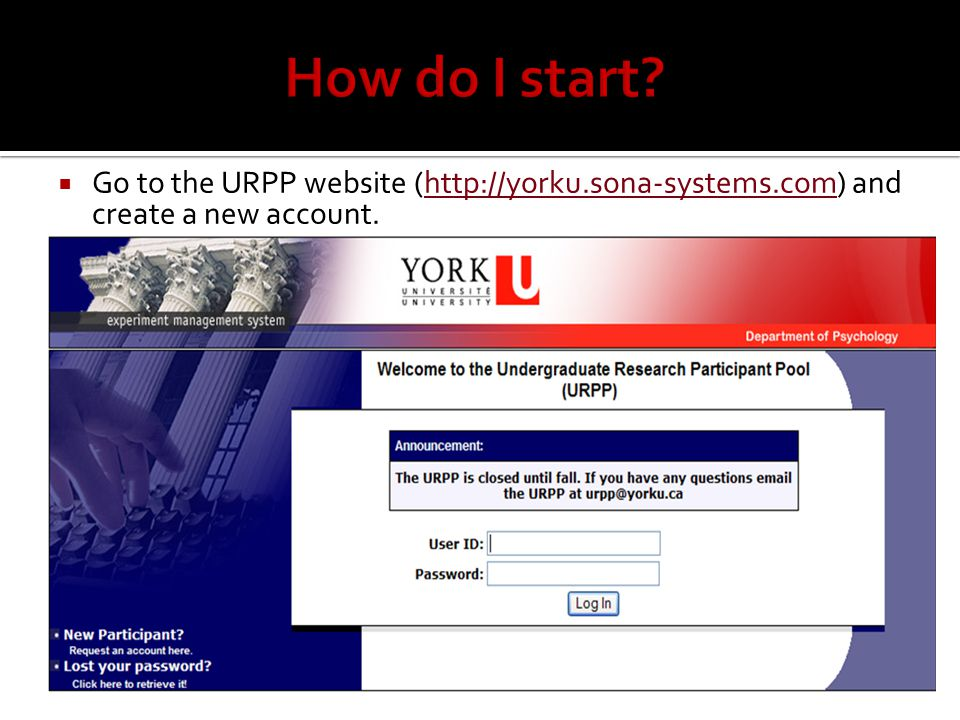  Go to the URPP website (  and create a new account.