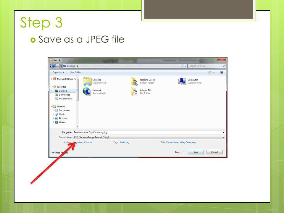 Step 3  Save as a JPEG file