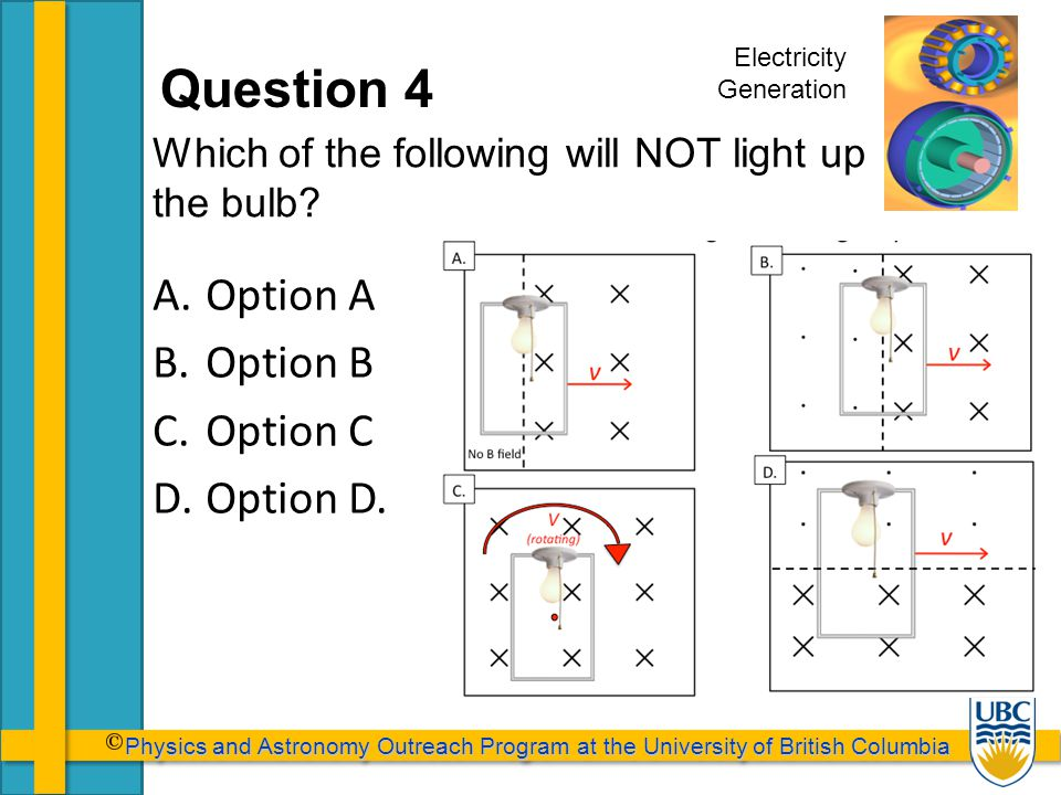 Physics and Astronomy Outreach Program at the University of British Columbia Physics and Astronomy Outreach Program at the University of British Columbia Question 4 Which of the following will NOT light up the bulb.