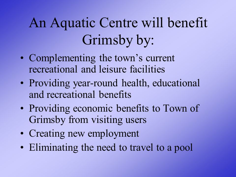 What are the Grimsby Community advantages to an Aquatic Centre