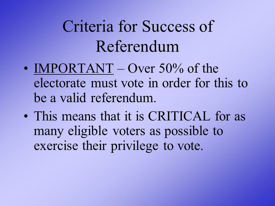 Now, the most critical information of all – THE VOTE!!