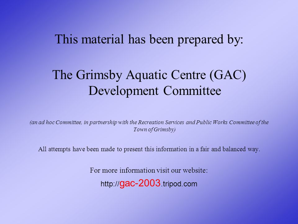 The opportunity for a GRIMSBY AQUATIC CENTRE is in YOUR HANDS, the citizens of Grimsby.