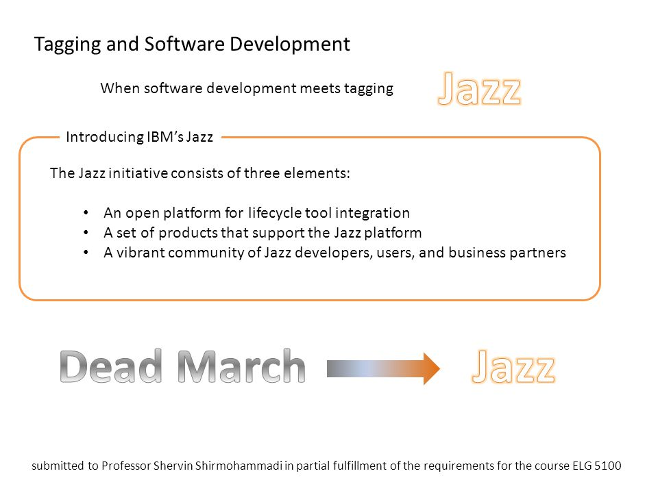 Tagging and Software Development The Jazz initiative consists of three elements: An open platform for lifecycle tool integration A set of products tha