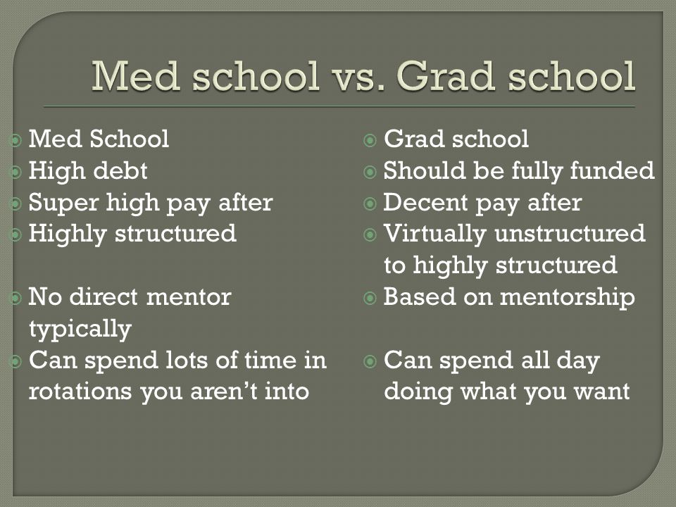  Med School  High debt  Super high pay after  Highly structured  No direct mentor typically  Can spend lots of time in rotations you aren't into  Grad school  Should be fully funded  Decent pay after  Virtually unstructured to highly structured  Based on mentorship  Can spend all day doing what you want
