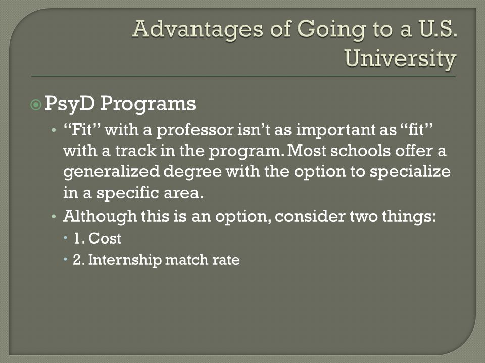  PsyD Programs Fit with a professor isn't as important as fit with a track in the program.
