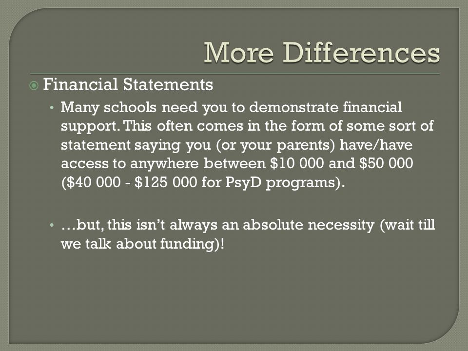  Financial Statements Many schools need you to demonstrate financial support. This often comes in the form of some sort of statement saying you (or y