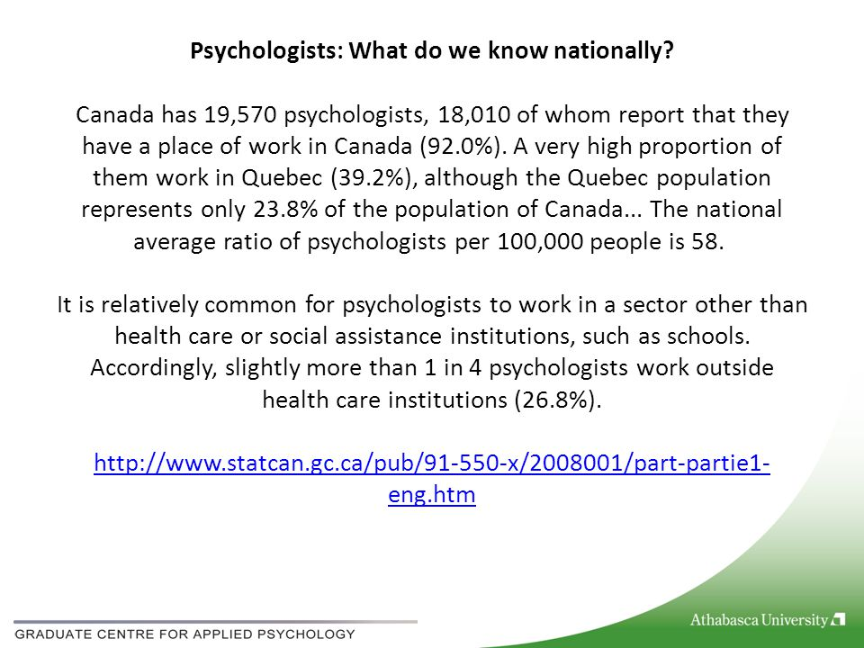 Psychologists: What do we know nationally? Canada has 19,570 psychologists, 18,010 of whom report that they have a place of work in Canada (92.0%). A