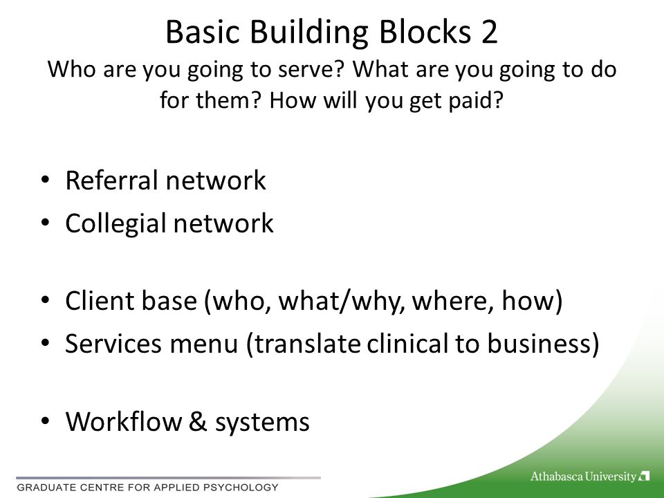 Basic Building Blocks 2 Who are you going to serve? What are you going to do for them? How will you get paid? Referral network Collegial network Clien
