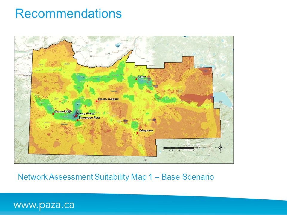 Recommendations Network Assessment Suitability Map 1 – Base Scenario