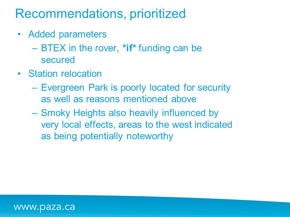 Recommendations, prioritized Added parameters –BTEX in the rover, *if* funding can be secured Station relocation –Evergreen Park is poorly located for
