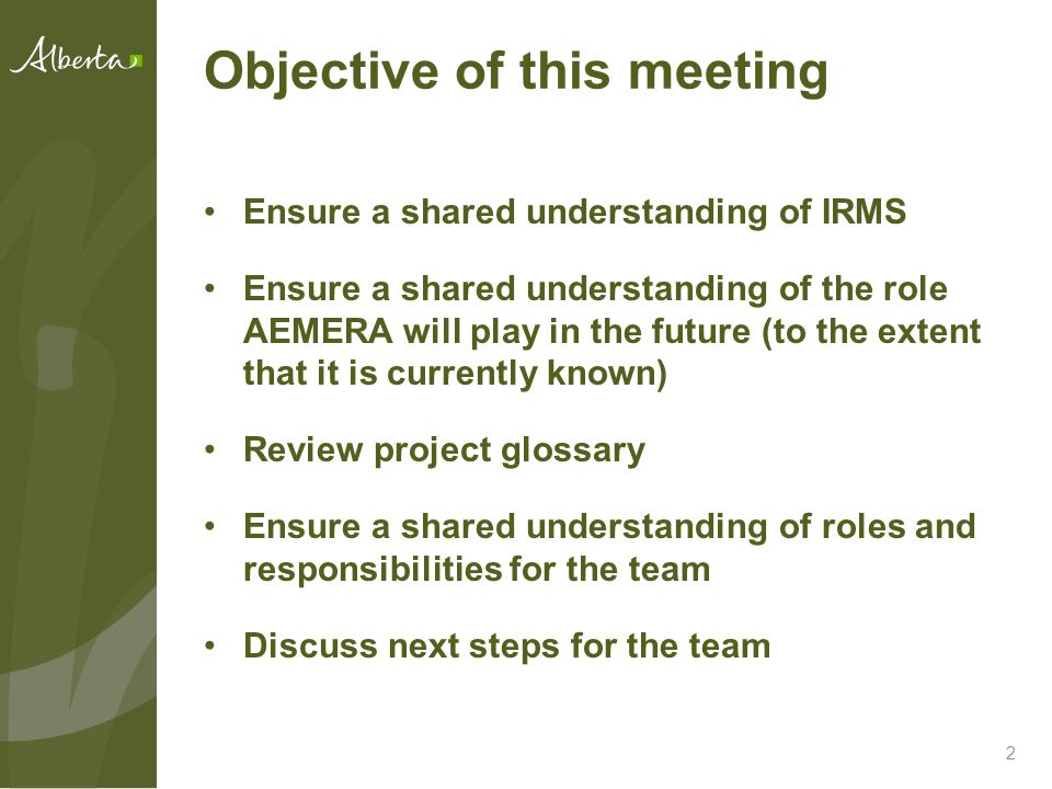 Objective of this meeting Ensure a shared understanding of IRMS Ensure a shared understanding of the role AEMERA will play in the future (to the extent that it is currently known) Review project glossary Ensure a shared understanding of roles and responsibilities for the team Discuss next steps for the team 2
