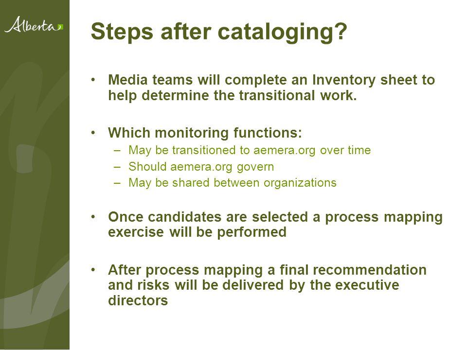 Steps after cataloging.