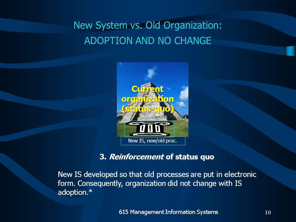 9 New processes & IS Currentorganization(status-quo) 2.