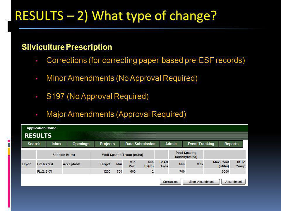 Silviculture Prescription Corrections (for correcting paper-based pre-ESF records) Minor Amendments (No Approval Required) S197 (No Approval Required) Major Amendments (Approval Required) RESULTS – 2) What type of change