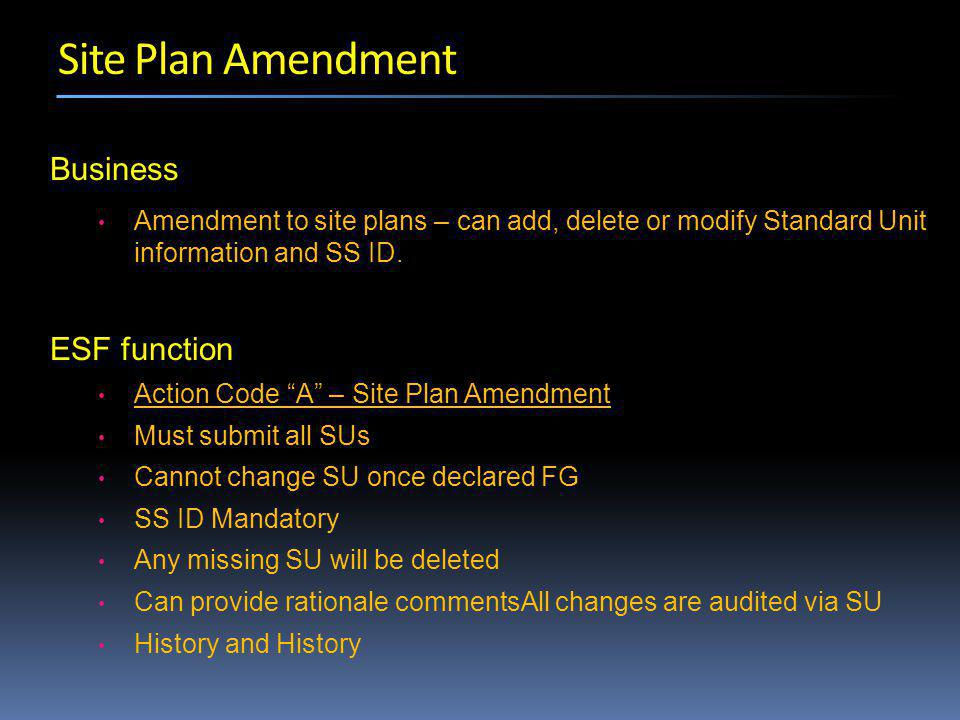 Business Amendment to site plans – can add, delete or modify Standard Unit information and SS ID.