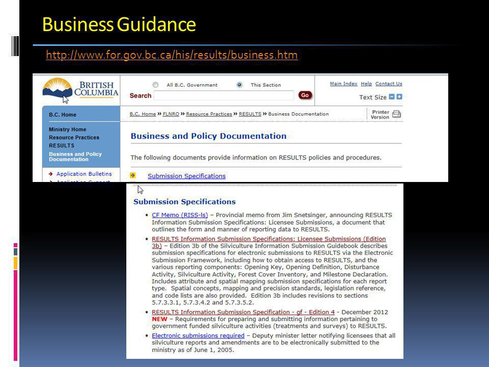 Business Guidance http://www.for.gov.bc.ca/his/results/business.htm