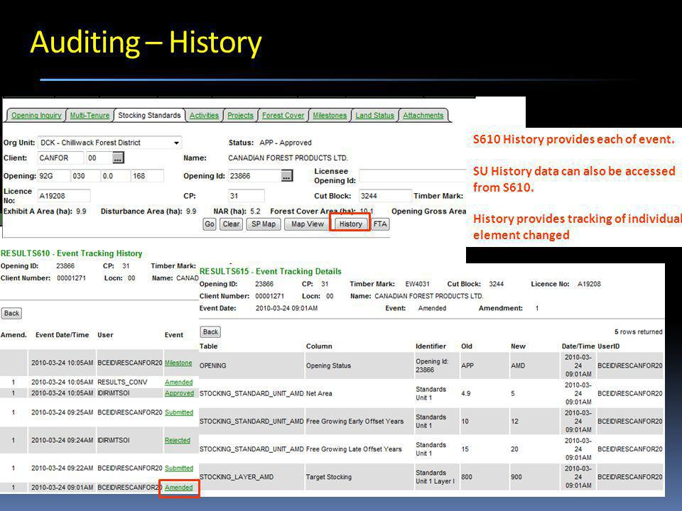 Auditing – History S610 History provides each of event.