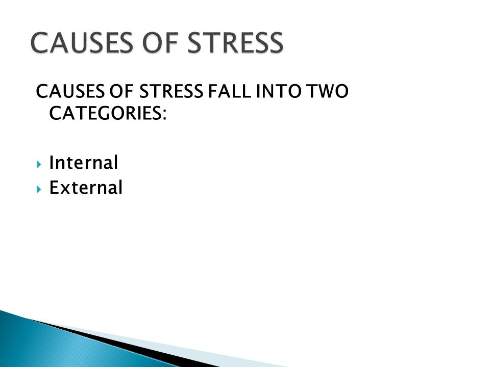 CAUSES OF STRESS FALL INTO TWO CATEGORIES:  Internal  External 8
