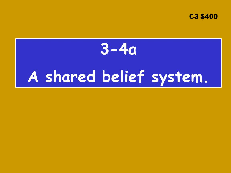 C3 $ a A shared belief system.