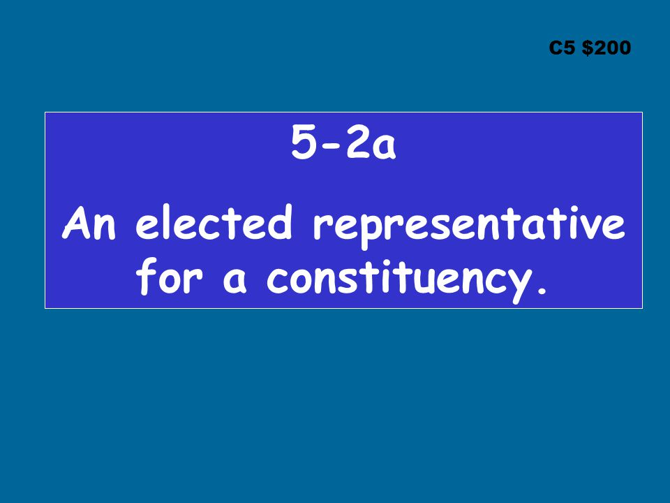 C5 $ a An elected representative for a constituency.