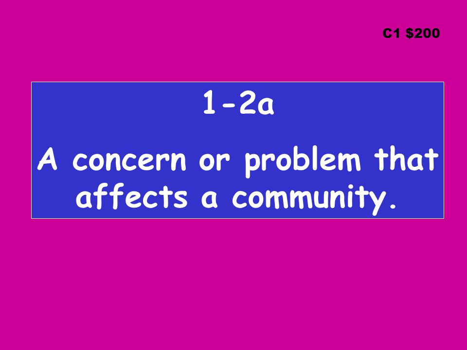 1-2a A concern or problem that affects a community. C1 $200