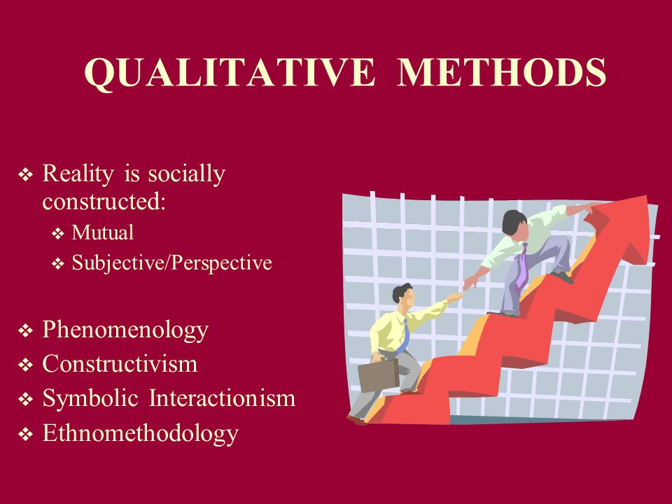 QUALITATIVE METHODS  Reality is socially constructed:  Mutual  Subjective/Perspective  Phenomenology  Constructivism  Symbolic Interactionism  Ethnomethodology