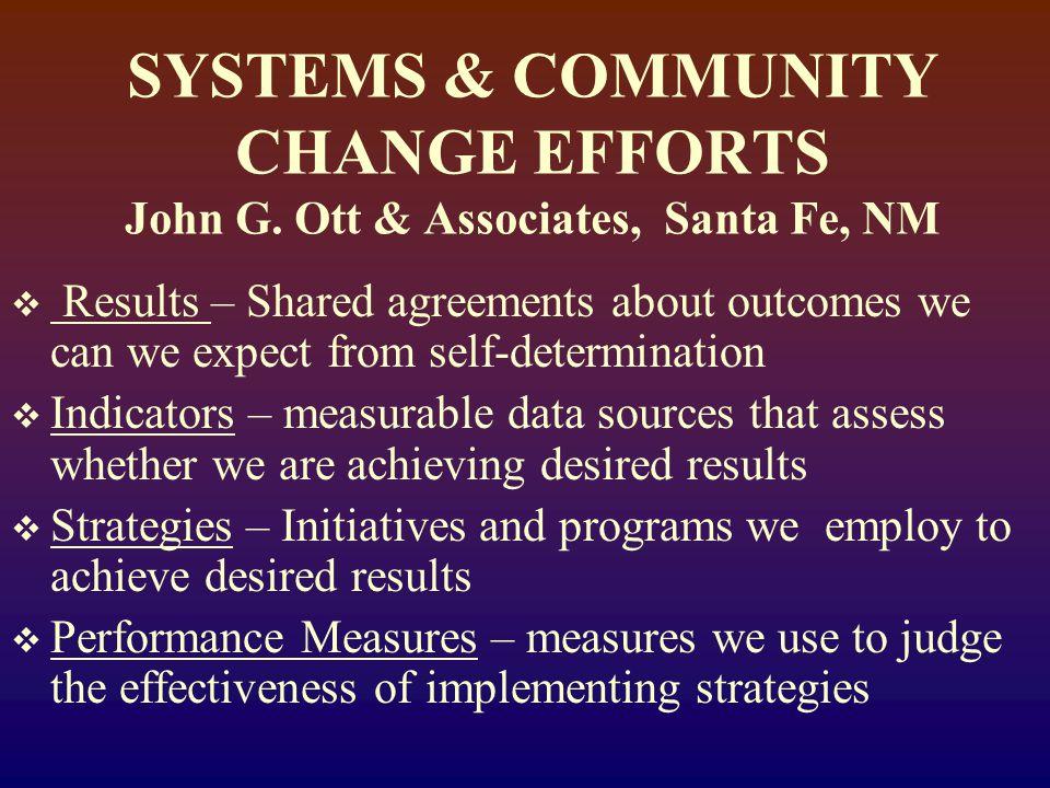 SYSTEMS & COMMUNITY CHANGE EFFORTS John G.