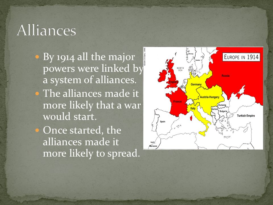 All the great powers were competing for colonies / territory.