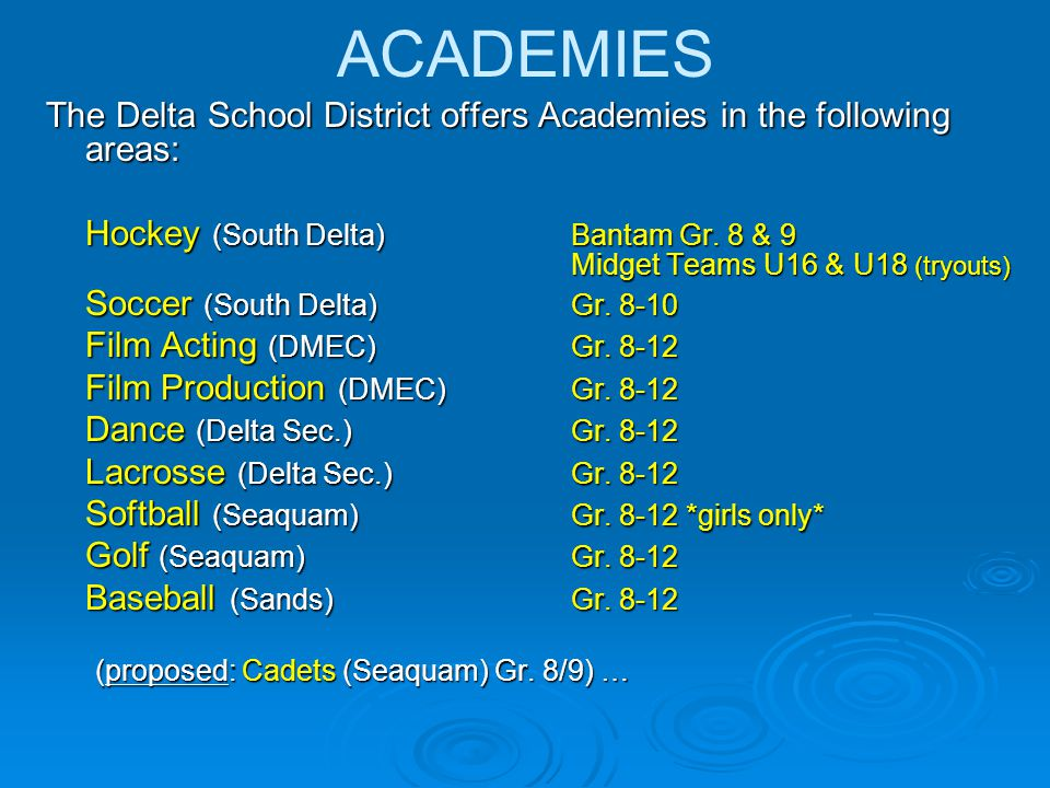 ACADEMIES The Delta School District offers Academies in the following areas: Hockey (South Delta) Bantam Gr.