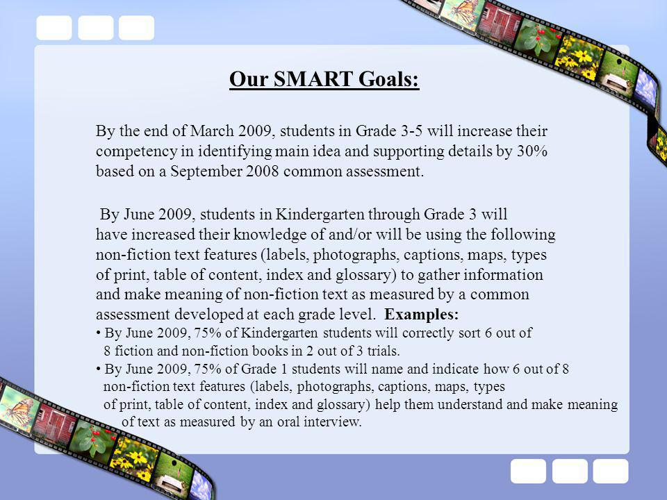 Our SMART Goals: By the end of March 2009, students in Grade 3-5 will increase their competency in identifying main idea and supporting details by 30% based on a September 2008 common assessment.