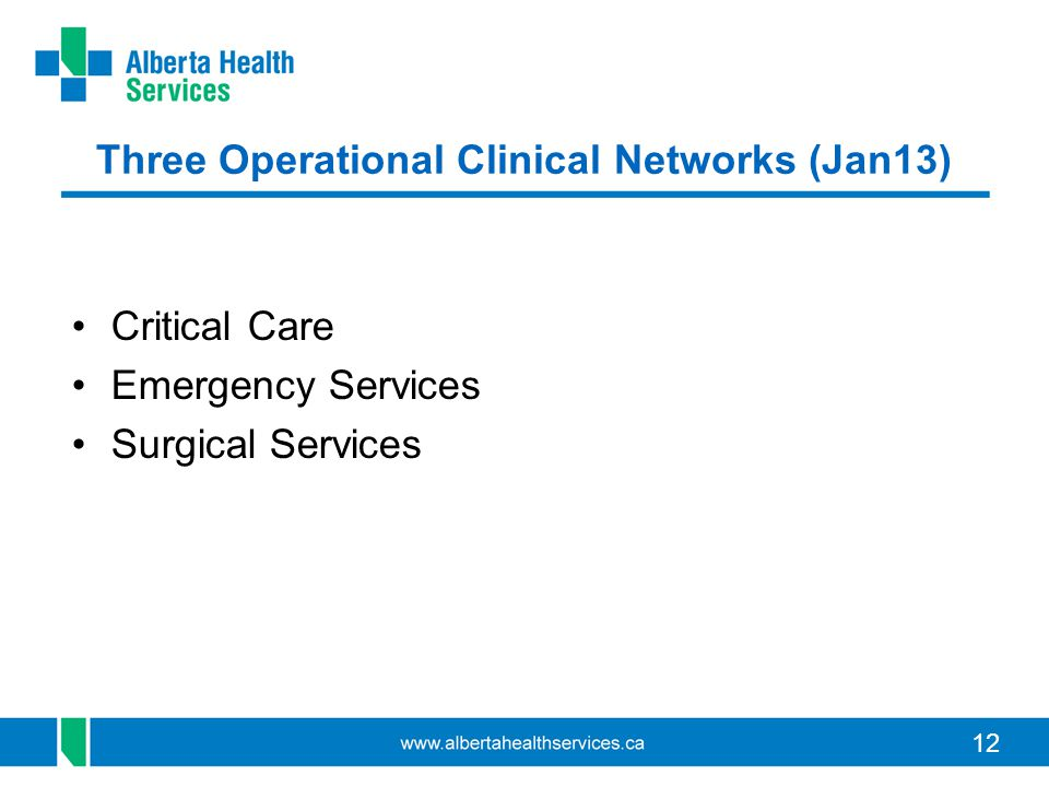 12 Three Operational Clinical Networks (Jan13) Critical Care Emergency Services Surgical Services