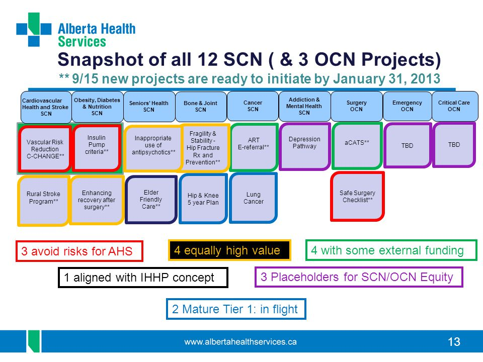 13 Snapshot of all 12 SCN ( & 3 OCN Projects) ** 9/15 new projects are ready to initiate by January 31, 2013 Obesity, Diabetes & Nutrition SCN Bone &