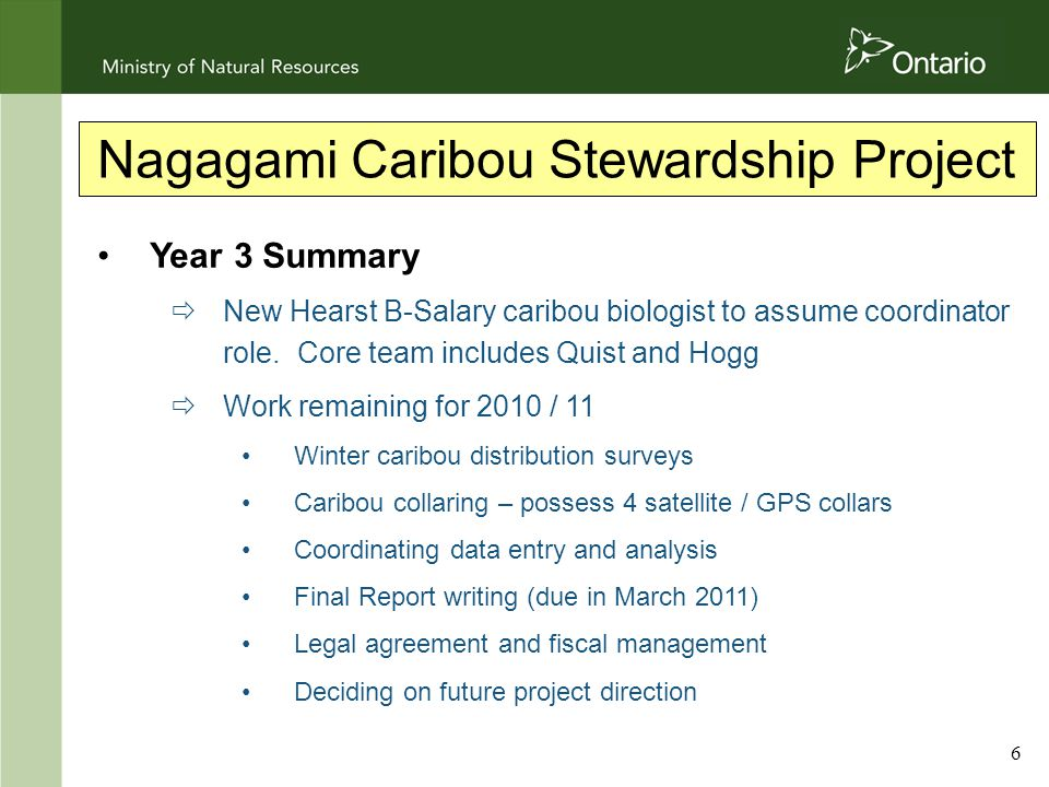 6 Nagagami Caribou Stewardship Project Year 3 Summary  New Hearst B-Salary caribou biologist to assume coordinator role.