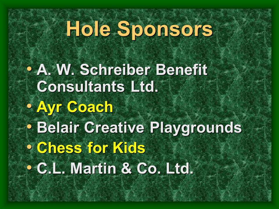 Hole Sponsors A. W. Schreiber Benefit Consultants Ltd. A. W. Schreiber Benefit Consultants Ltd. Ayr Coach Ayr Coach Belair Creative Playgrounds Belair
