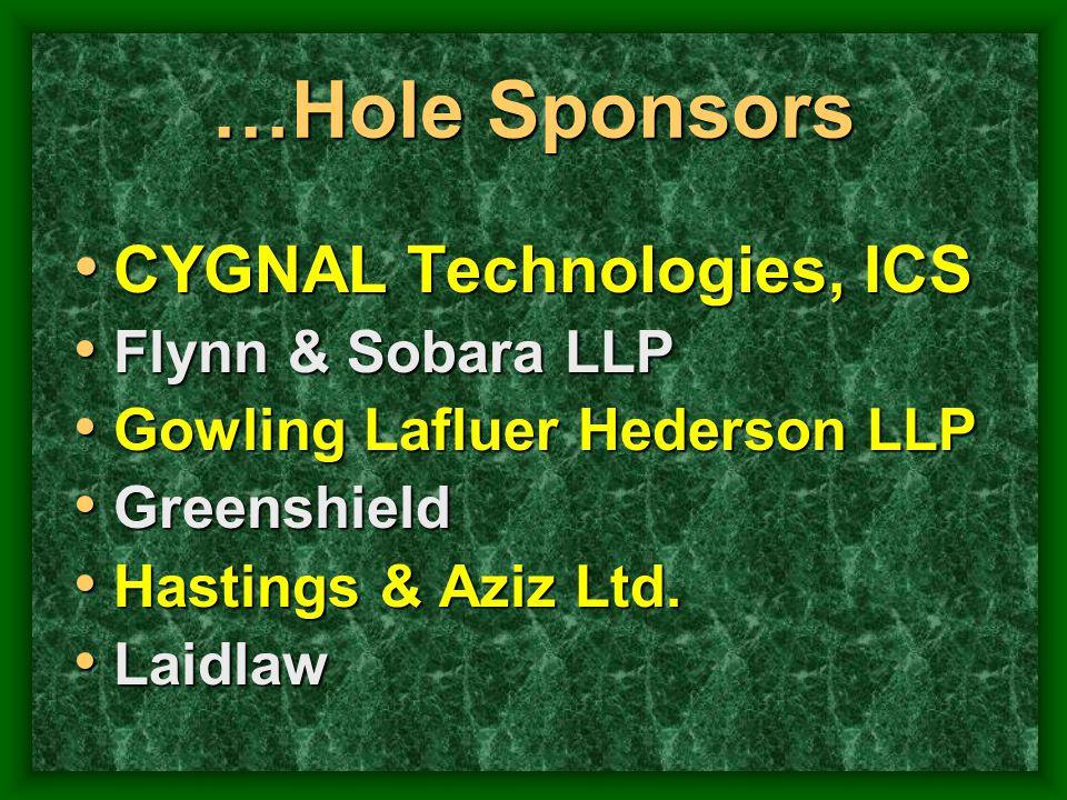 …Hole Sponsors CYGNAL Technologies, ICS CYGNAL Technologies, ICS Flynn & Sobara LLP Flynn & Sobara LLP Gowling Lafluer Hederson LLP Gowling Lafluer He